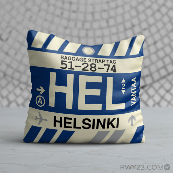 RWY23 - HEL Helsinki, Finland Airport Code Throw Pillow - Birthday Gift Christmas Gift