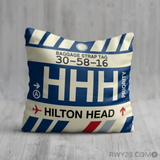 RWY23 - HHH Hilton Head Island, South Carolina Airport Code Throw Pillow - Birthday Gift Christmas Gift