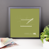 "RWY23 - HNL Honolulu Airport Runway Diagram Framed Square Poster - Birthday Gift - Desk 14""x14"""