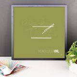 "RWY23 - HNL Honolulu Airport Runway Diagram Framed Square Poster - Christmas Gift - Desk 18""x18"""