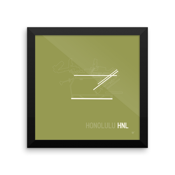 "RWY23 - HNL Honolulu Airport Runway Diagram Framed Square Poster - Aviation Gift - Wall 10""x10"""