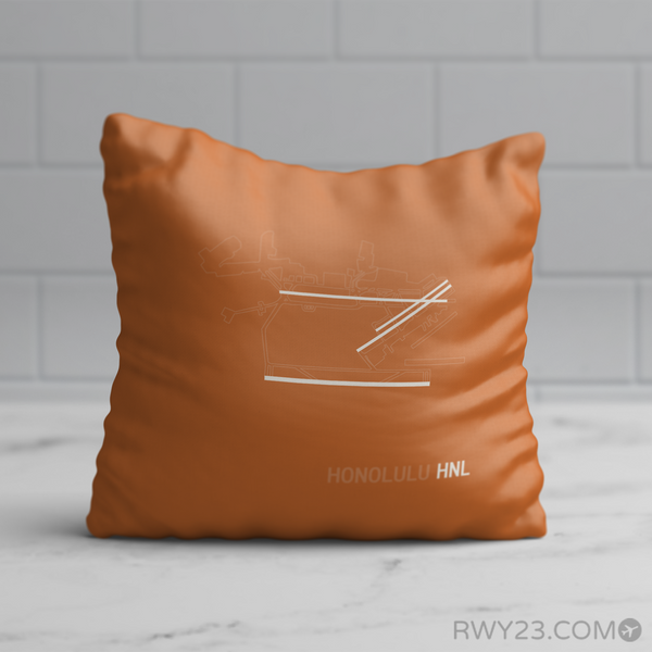 RWY23 - HNL Honolulu Throw Pillow - Airport Runway Diagram Design - Birthday Gift Christmas Gift