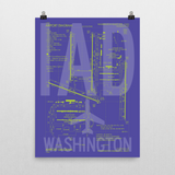 "RWY23 IAD Washington (Dulles) Airport Diagram Poster 18""x24"" Wall"
