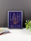 "RWY23 - IAH Houston Airport Diagram Framed Poster - Aviation Art - Birthday Gift, Christmas Gift, Home and Office Decor  - 8""x10"" Desk"