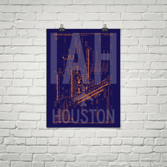 "RWY23 IAH Houston (George Bush) Airport Diagram Poster 18""x24"" Brick"