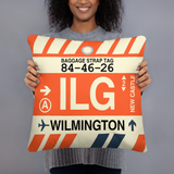 RWY23 - ILG Wilmington, Delaware Airport Code Throw Pillow - Birthday Gift Christmas Gift - Lady