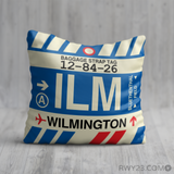 RWY23 - ILM Wilmington, North Carolina Airport Code Throw Pillow - Birthday Gift Christmas Gift
