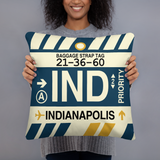 IND Indianapolis Throw Pillow • Airport Code & Vintage Baggage Tag Design