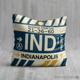 RWY23 - IND Indianapolis, Indiana Airport Code Throw Pillow - Birthday Gift Christmas Gift