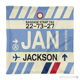RWY23 - JAN Jackson, Mississippi Airport Code Throw Pillow - Aviation Gift Travel Gift