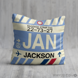 RWY23 - JAN Jackson, Mississippi Airport Code Throw Pillow - Birthday Gift Christmas Gift