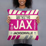 JAX Jacksonville Throw Pillow • Airport Code & Vintage Baggage Tag Design
