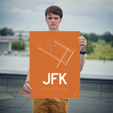 "RWY23 - JFK New York Airport Runway Diagram Unframed Rectangle Poster - Housewarming Gift - 18""x24"" Person"