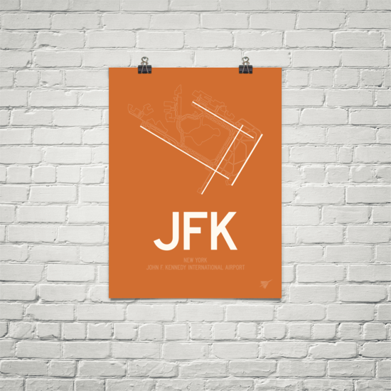 "RWY23 - JFK New York Airport Runway Diagram Unframed Rectangle Poster - Christmas Gift - 18""x24"" Brick"