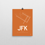 "RWY23 - JFK New York Airport Runway Diagram Unframed Rectangle Poster - Aviation Gift - 12""x16"" Wall"