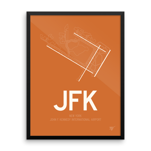 "RWY23 - JFK New York Airport Runway Diagram Framed Rectangle Poster - Christmas Gift - 18""x24"" Wall"