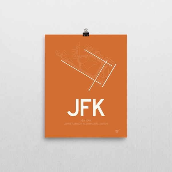"RWY23 - JFK New York Airport Runway Diagram Unframed Rectangle Poster - Airport Gift - 8""x10"" Wall"
