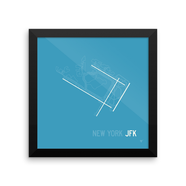 "RWY23 JFK New York (John F. Kennedy) Airport Runway Diagram Framed Poster Wall 10""x10"""