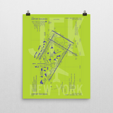 "RWY23 JFK New York (John F. Kennedy) Airport Diagram Poster 16""x20"" Wall"