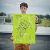 "RWY23 - JFK New York Airport Diagram Poster - Aviation Art - Birthday Gift, Christmas Gift, Home and Office Decor - 18""x24"" Person"