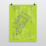 "RWY23 - JFK New York Airport Diagram Poster - Aviation Art - Birthday Gift, Christmas Gift, Home and Office Decor - 18""x24"" Wall"
