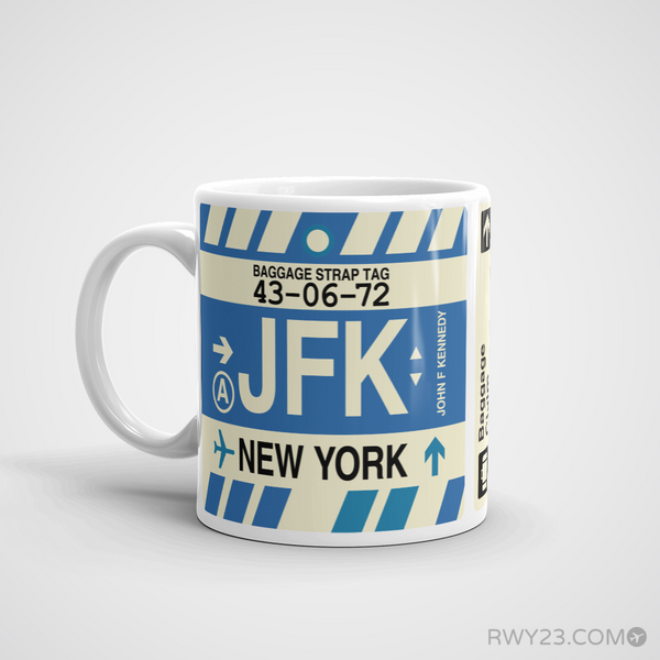 RWY23 - JFK New York, New York Airport Code Coffee Mug - Birthday Gift, Christmas Gift - Left