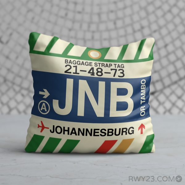 RWY23 - JNB Johannesburg, South Africa Airport Code Throw Pillow - Birthday Gift Christmas Gift