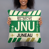 JNU Juneau Throw Pillow • Airport Code & Vintage Baggage Tag Design