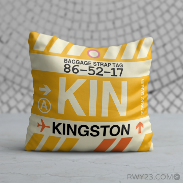 RWY23 - KIN Kingston, Jamaica Airport Code Throw Pillow - Birthday Gift Christmas Gift