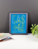 "RWY23 - LAS Las Vegas Airport Diagram Framed Poster - Aviation Art - Birthday Gift, Christmas Gift, Home and Office Decor  - 8""x10"" Desk"