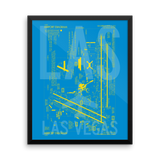 "RWY23 LAS Las Vegas Airport Diagram Framed Poster 16""x20"" Wall"