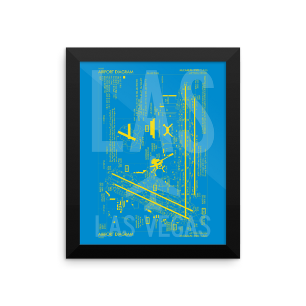 "RWY23 - LAS Las Vegas Airport Diagram Framed Poster - Aviation Art - Birthday Gift, Christmas Gift, Home and Office Decor  - 8""x10"" Wall"