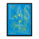"RWY23 - LAS Las Vegas Airport Diagram Framed Poster - Aviation Art - Birthday Gift, Christmas Gift, Home and Office Decor - 18""x24"" Wall"
