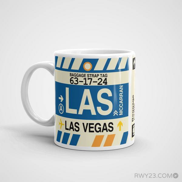 RWY23 - LAS Las Vegas, Nevada Airport Code Coffee Mug - Birthday Gift, Christmas Gift - Left