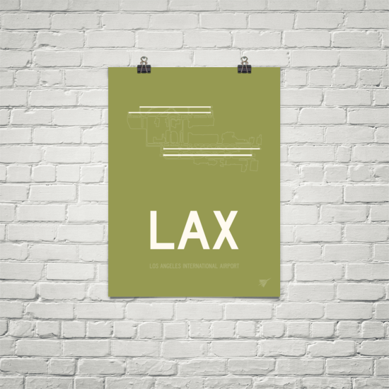 "RWY23 - LAX Los Angeles Airport Runway Diagram Unframed Rectangle Poster - Christmas Gift - 18""x24"" Brick"