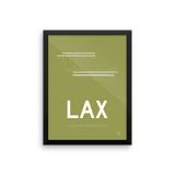 "RWY23 - LAX Los Angeles Airport Runway Diagram Framed Rectangle Poster - Travel Gift - 12""x16"" Wall"
