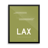 "RWY23 - LAX Los Angeles Airport Runway Diagram Framed Rectangle Poster - Aviation Gift - 16""x20"" Wall"