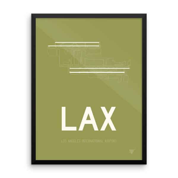 "RWY23 - LAX Los Angeles Airport Runway Diagram Framed Rectangle Poster - Christmas Gift - 18""x24"" Wall"