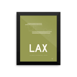"RWY23 - LAX Los Angeles Airport Runway Diagram Framed Rectangle Poster - Housewarming Gift - 8""x10"" Wall"