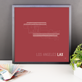 "RWY23 - LAX Los Angeles Airport Runway Diagram Framed Square Poster - Christmas Gift - Desk 18""x18"""