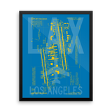 "RWY23 LAX Los Angeles Airport Diagram Framed Poster 16""x20"" Wall"