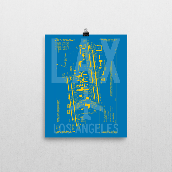 "RWY23 LAX Los Angeles Airport Diagram Poster 8""x10"" Wall"