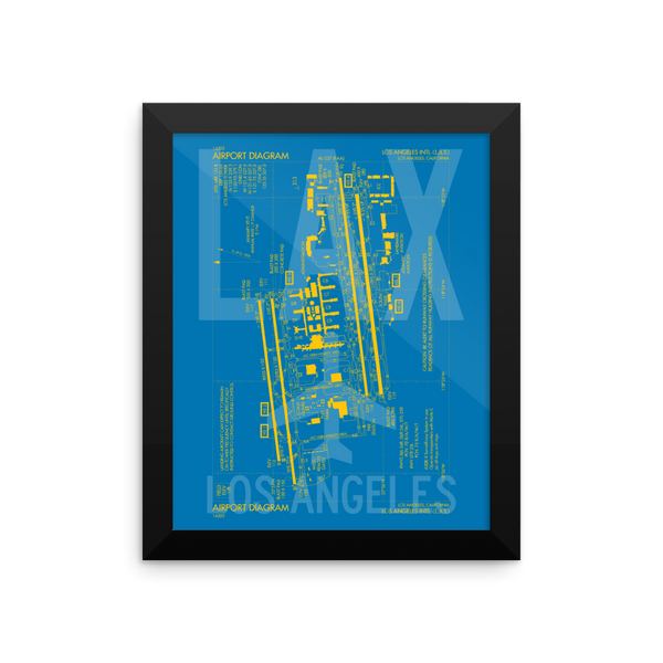 "RWY23 LAX Los Angeles Airport Diagram Framed Poster 8""x10"" Wall"
