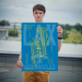 "RWY23 LAX Los Angeles Airport Diagram Poster 18""x24"" Person"