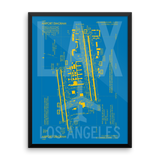 "RWY23 LAX Los Angeles Airport Diagram Framed Poster 18""x24"" Wall"