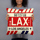 LAX Los Angeles Airport Code Throw Pillow - Vintage Baggage Tag Design