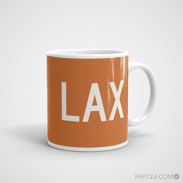 RWY23 - LAX Los Angeles Coffee Mug - Airport Code and Runway Diagram Design - Aviation Gift Birthday Gift - Right