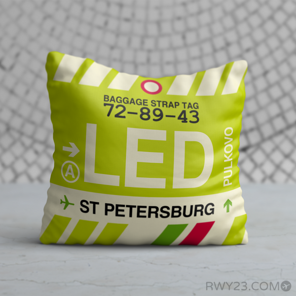 RWY23 - LED Saint Petersburg, Russia Airport Code Throw Pillow - Birthday Gift Christmas Gift