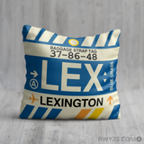 RWY23 - LEX Lexington, Kentucky Airport Code Throw Pillow - Birthday Gift Christmas Gift