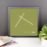 "RWY23 - LGA New York Airport Runway Diagram Framed Square Poster - Birthday Gift - Desk 14""x14"""